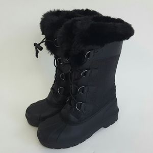 Cat & Jack Girls Black Winter Faux Fur Boots